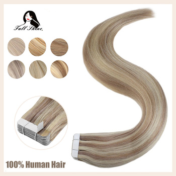 цена на Full Shine Tape In Extensions Human Hair 100% Real Machine Remy Hair Adhesive Tape In Hair Extension Seamless Tape in Hair