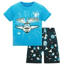 Blue Plane Children Clothes Sets Dinosaur Boys Pajamas 2-Pieces Suit Baby Boy pijama Kids Tee Shirt Shorts Pant 100% Cotton