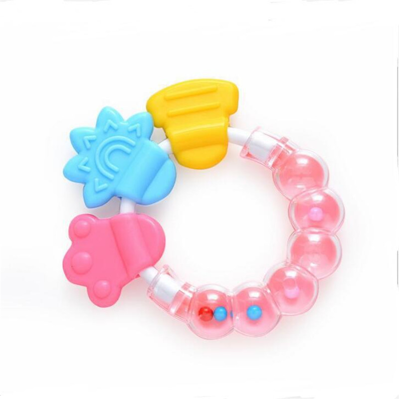 Newborn Comforting Educational Toys Durable Baby Infant Kid Rattles Biting Teething Teether Balls Toys Circle Ring