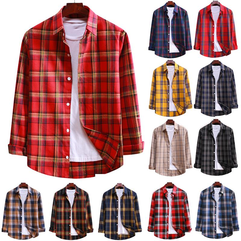 Shirt Men 2020 New Streetwear Long Sleeve Plaid Shirt Loose Fashion Mens Shirts Casual Hawaiian Shirt