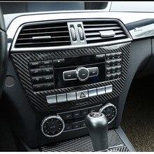 Estilo de fibra carbono abs console central cd decoração quadro guarnição para mercedes benz classe c w204 2011 2012 2013 ano acessórios