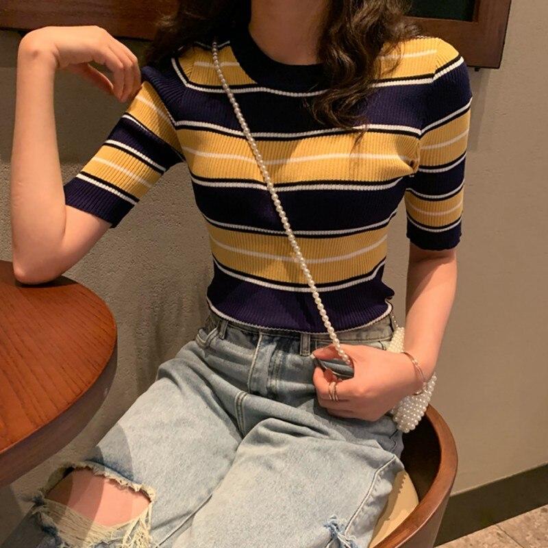 Women Sweater Autumn New Winter Stripes Print Slim Short Sleeved Round Neck Slim Bottom Knit Sweater Half Sleeve Sweater*