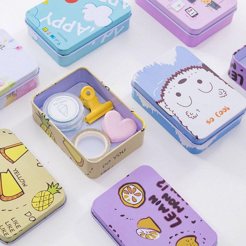 1 Pcs Kawaii Cartoon Mini Tin Box Clip Holder Tape Holder Decoration Teacher Kids Toy Gifts Stationery