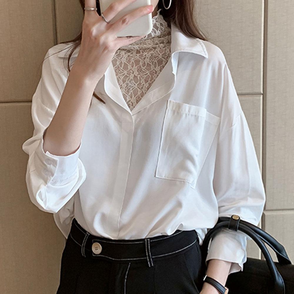 Elegant Lace Patchwork Blouse Women Korean Chic Designer Brand Fake Two Piece Long Sleeve White Shirts Causal Female Tops