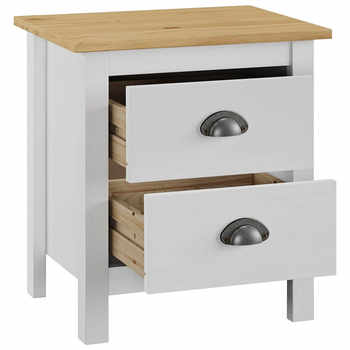 Bedside Cabinet Table Nightstand with 2 Drawer Coffee Modern Storage Bedroom Home Furniture Solid Pine Wood Bedstand Living Home