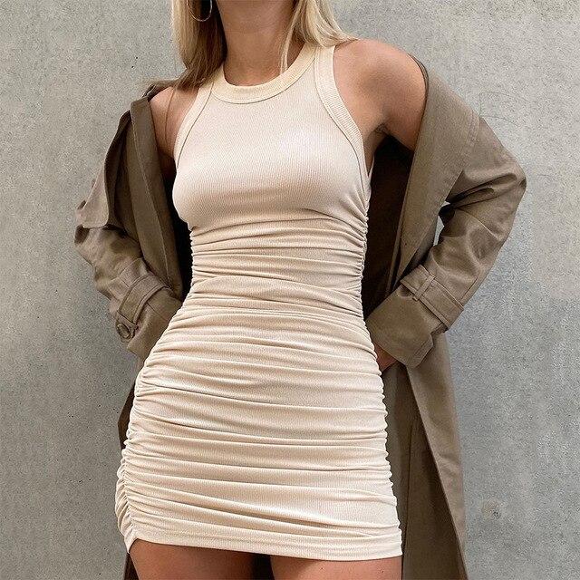 Hirigin Cotton Ruched Drawstring Sexy Dresses Women Sleeveless Elastic Mini Dress Vintage Bodycon Club Wear 2021 Casual Vestidos 2