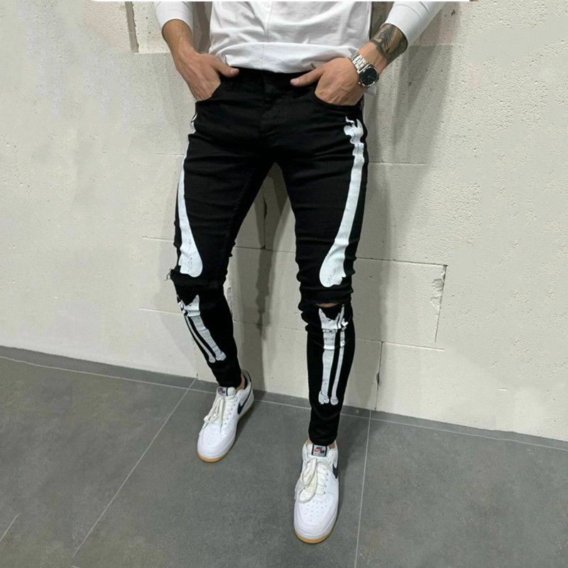 New Cool Designer Men Stretchy Ripped Skinny Biker Print Jeans Destroyed Hole Fashion Slim Denim Scratched High Quality jeans (3)