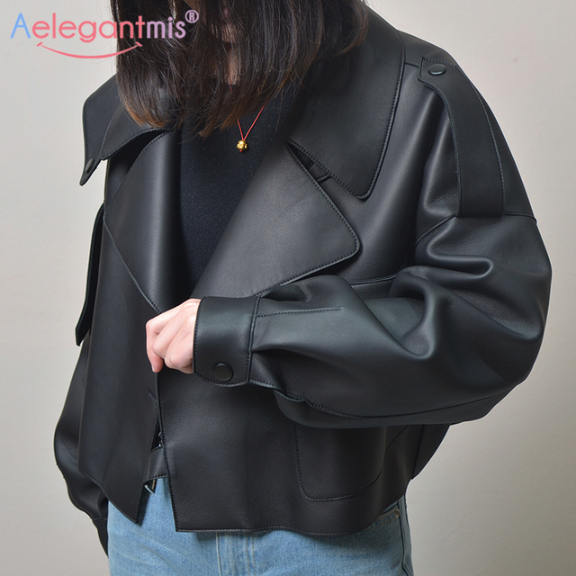 Aelegantmis – Blouson en simili cuir pour femme, mode, veste décontractée et courte, couleur noire, vêtement de motard 2