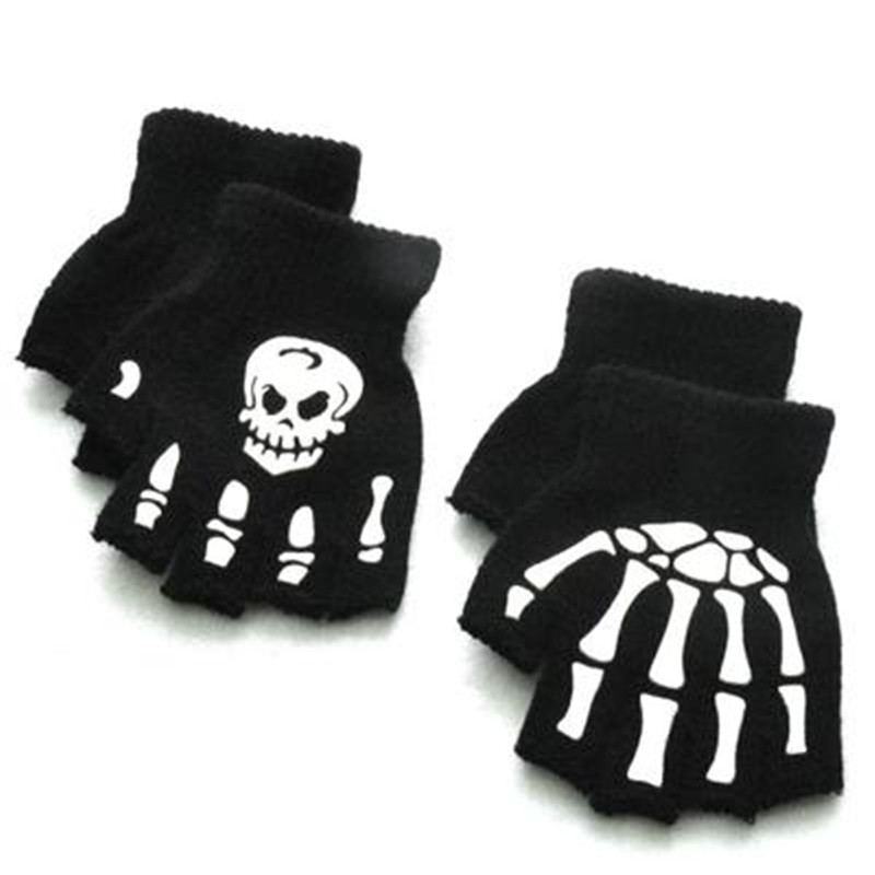 Warm Winter Fingerless Hand Gloves Kids Children Men Women Luminous Halloween Skeleton Ghost Claw Black Elastic Accessories-QSD