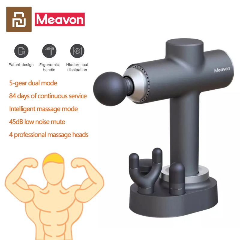 Meavon Smart Electric Massage Gun Double Mode Fascia Gun Deep Muscle Relaxation Wireless Charging Low Noise For Home Gym