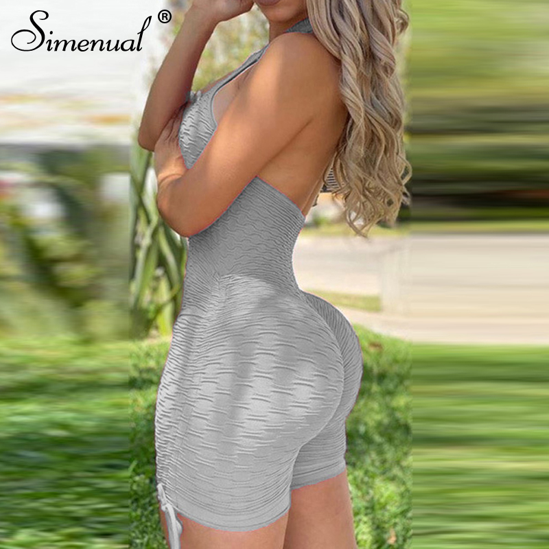 Simenual Casual Ruched Backless Halter Women Paysuits Sporty Fitness Push Up Workout Rompers Solid Bodycon Athleisure Playsuit