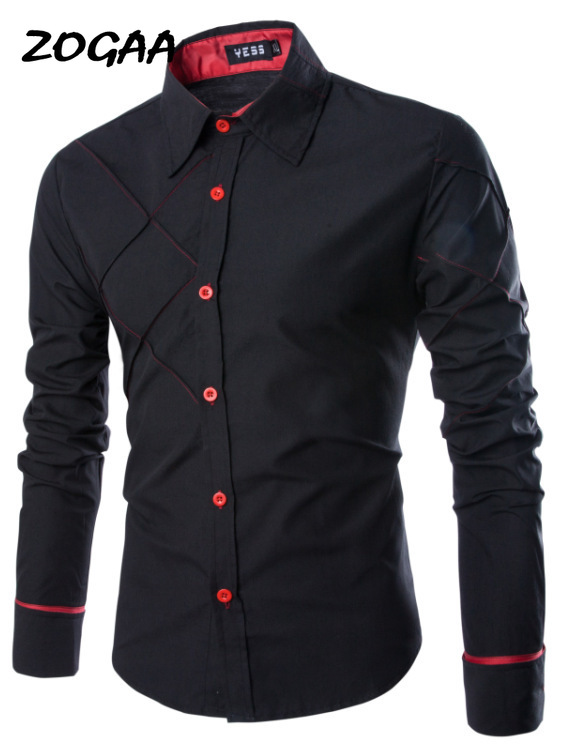 Zogaa 2020 novo tamanho grande camisa de manga longa masculina casual xadrez personalidade design manga longa camisa masculina fina