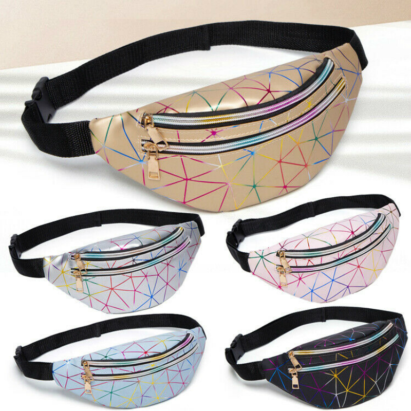 2020 NEW Women's Hip Hop Waist Bag Colorful Flash PU Leather Fanny Pack Portable Pochete Chest Bag