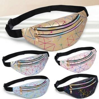 2020 NEW Women's Hip Hop Waist Bag Colorful Flash PU Leather Fanny Pack Portable Pochete Chest Bag фото