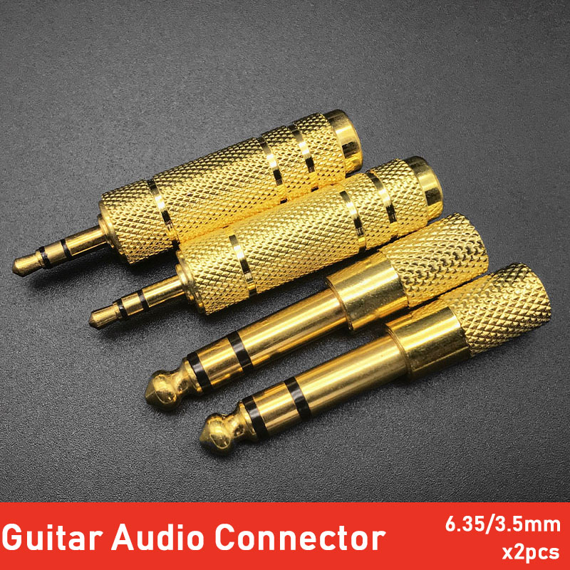 2pcs Guitar Amplifier Microphone 3.5 Female To 6.5/6.35 Male Stereo Audio Connector Adapter Plug Thread Gold