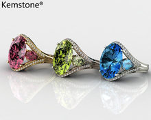 Kemstone Овальный Латунь розовые, зеленые, черные, синие, Женское кольцо с цирконом, ювелирное изделие в подарок для Для женщин