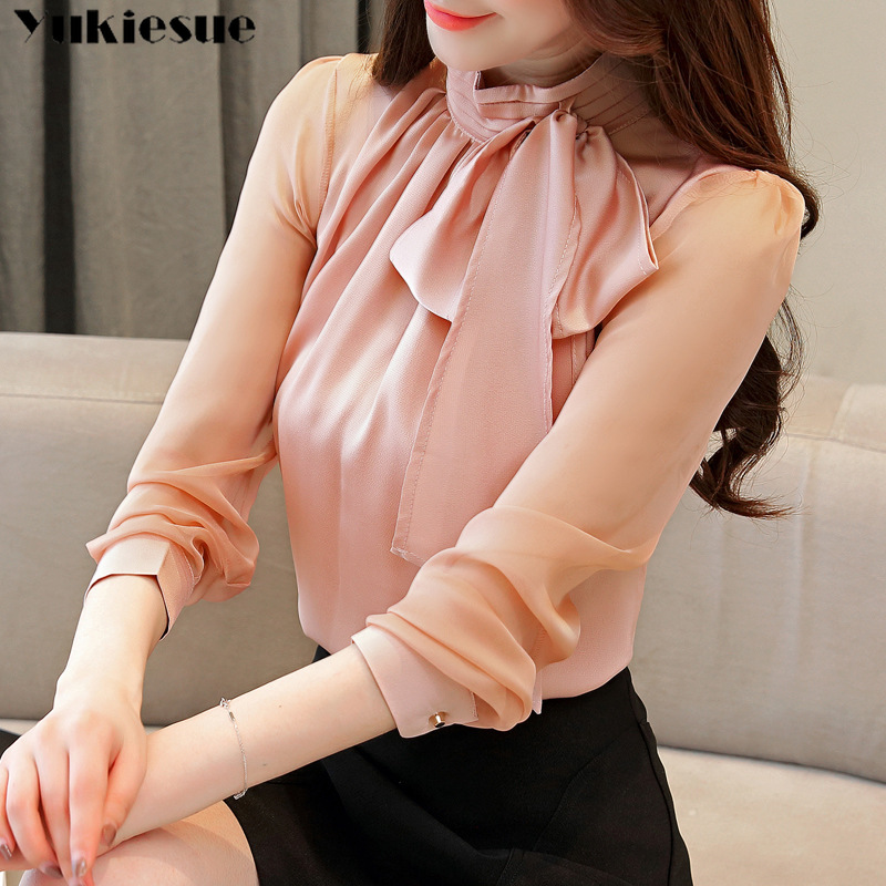 Autmun long sleeve   shirt   women fashion womens tops and   blouses   2018 solid bow stand collar office   blouses   women blusas plus size