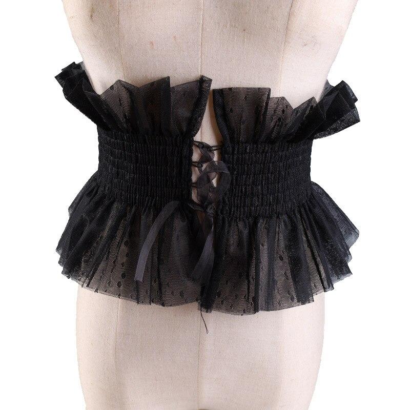 Hirigin Lady Semi-transparent Lotus Edge Decorative Belt Tightening Elastic Cloth Waist Seal Black/White Lace Ultra Wide Belt