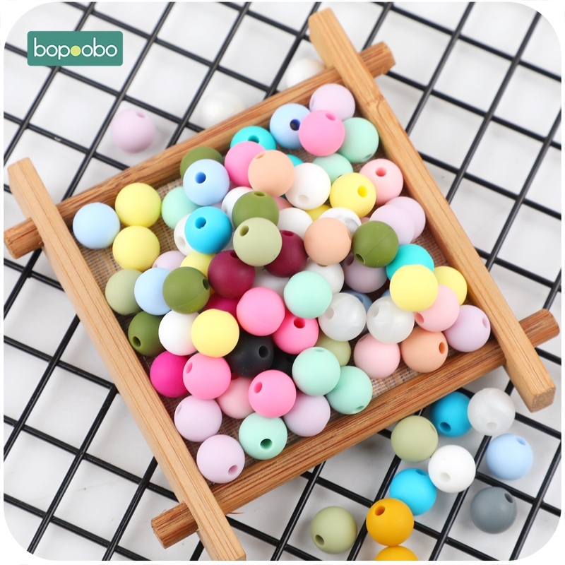 Bopoobo 9mm Silicone Beads 100pc Food Grade Silicone Teether DIY Pacifier Clips Beads BPA Free Necklace Infant Baby Teether Toys