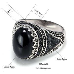 Image 5 - รับประกัน 925 เงินแหวนมงกุฎRetro VINTAGEตุรกีแหวนผู้ชายหินธรรมชาติสีดำสีเขียวสีแดงRingen