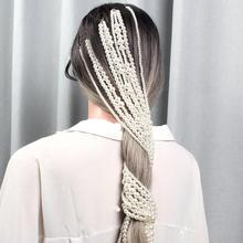 Simulated Pearl Long Tassel Chain Hair Clip Bridal Wedding Accessories For Women Party Jewelry