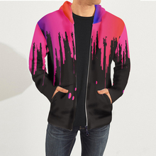 купить Streetwear Oversize Sweat Shirts Men Flowing Color Print Long Sleeves Zipper Hooded Hoodies Jacket Men Hip Hop Bomber Jackets дешево