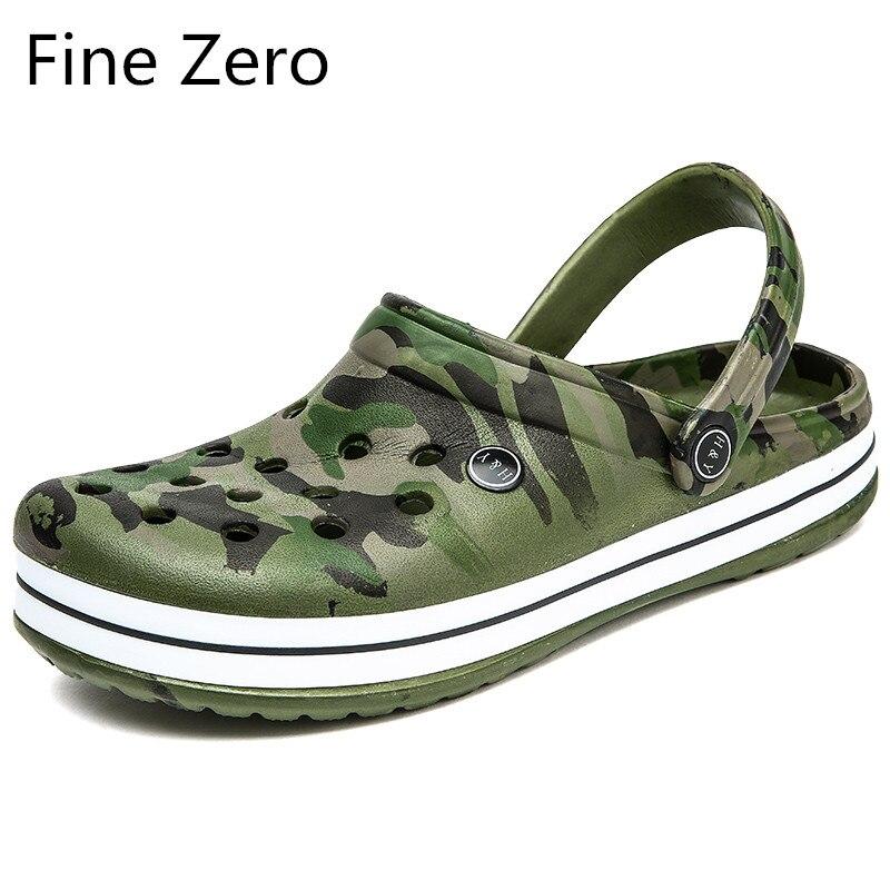 2020 Unisex Hollow Camouflage Green Outdoor Sandals Women Hollow Slippers Men Sport Light Sandalias Outdoor Summer Chanclas