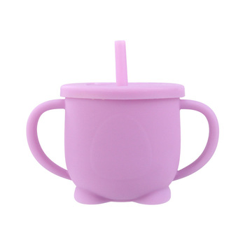 Pink Silicone Feeding Cup