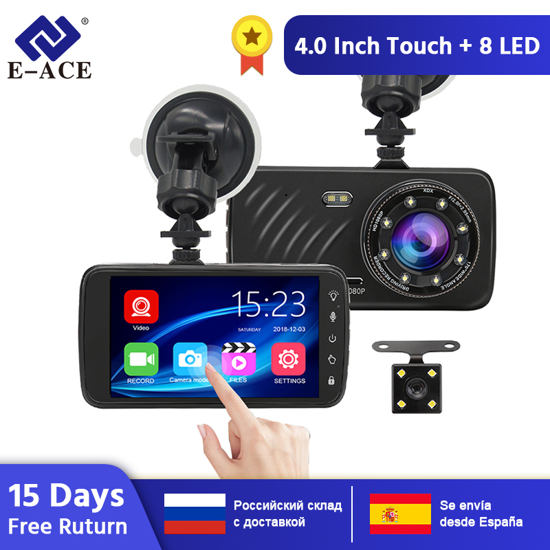 E-ACE B23 voiture DVR 4 pouces écran tactile Full HD 1080P enregistreur vidéo g-sensor Vision nocturne double lentille avec caméra de vue arrière DashCam
