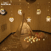 Romantic Lover 3D LED Illusion Night Light Icicle Curtain Fairy String Light Illusion Lamp for Wedding Party Valentine