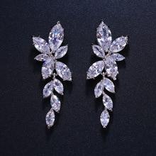 ER004 Элегантный мода листья циркон гвоздики серьги блестящие свадебные свадьба шиньон женщины свадьба волосы украшение для невест