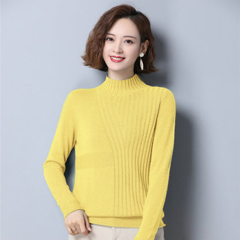 Yellow Green Pink Cashmere Pullover Sweater Woman Slim Fit Robbit Hair And Sheep Wool Knitted Top Woman High Collar Pull Jumper printio pink sheep