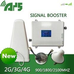 GSM 2G 3G 4G Handy Booster Tri Band Mobile Signal Verstärker LTE Cellular Repeater GSM DCS WCDMA 900 1800 2100 Set