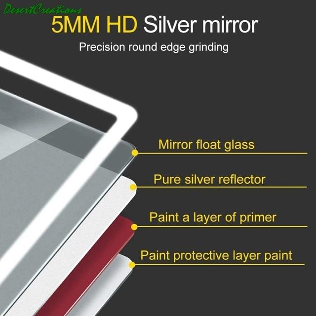 "32""x24""Bathroom Mirror With Led Lights Makeup Vanity Wall-Mounted Horizontally Rectangular Frameless Wall Mirror 6"