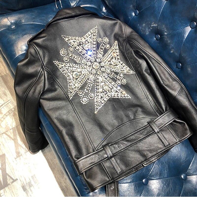 Woman Coats 100% Natural Leather Sheepskin 2019 Fashion Real Sheepskin  Motorcycle Jackets Rivet Genuine Leather  Ladies Jack 4