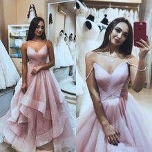 Sexy Ruffles Prom Dresses With Spaghetti Straps  Pleats Organza Evening Wear Tiered Skirts Pink robe de soiree