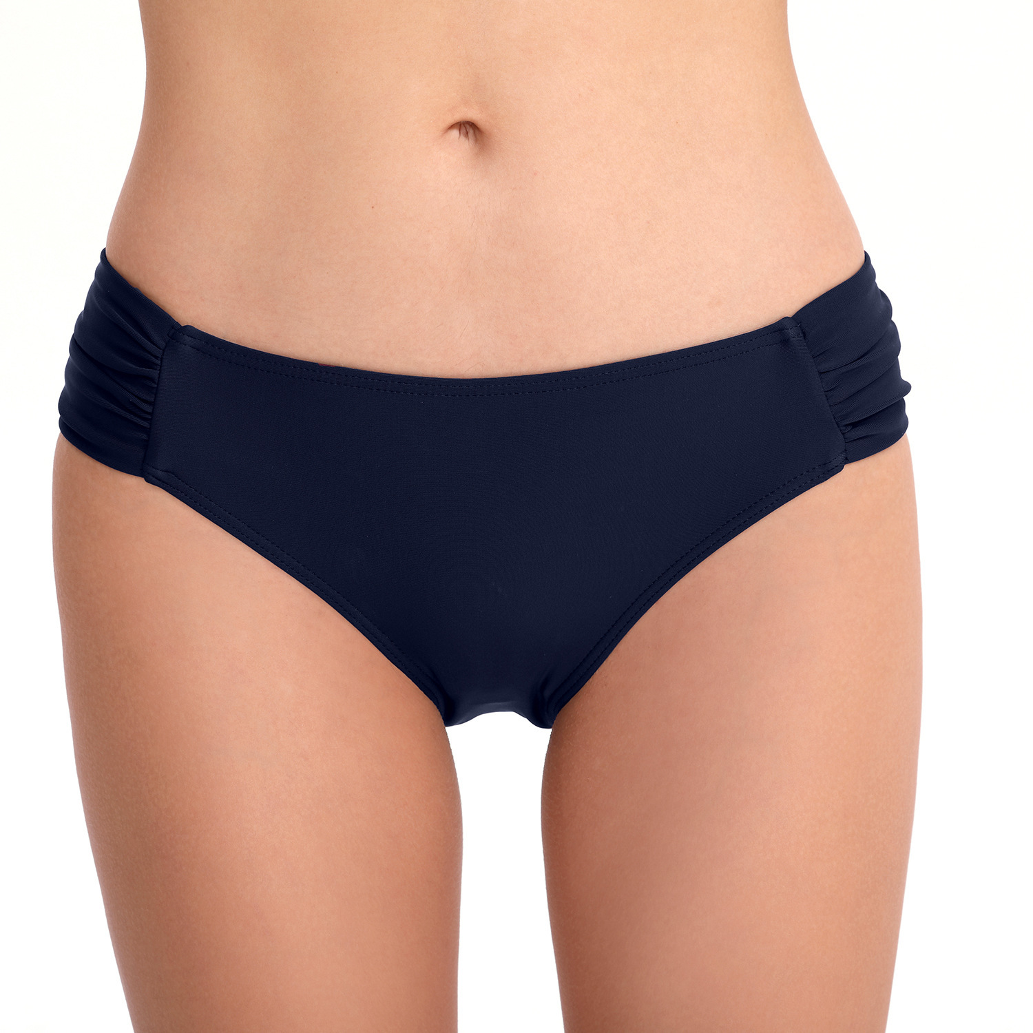 Europe And America New Style Swimming Trunks Conservative Pleated WOMEN'S Panties Sexy Solid Color Swimming Trunks
