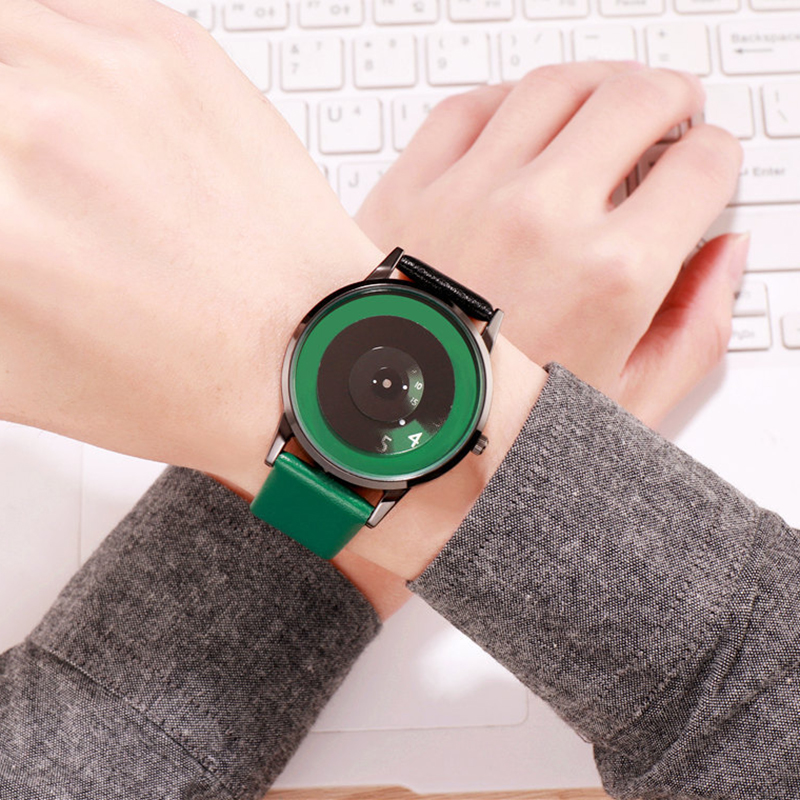 Women Watches Large Dial Creative Invisible Numbers Black Green Leather Quartz Ladies Wristwatches For Female Fashion Clock