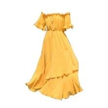 Retro Fairy Beach Dress Summer Yellow Chiffon Seaside Vacation Word Shoulder Dress Female Dress Solid Color g legrenzi 18 sonatas op 10