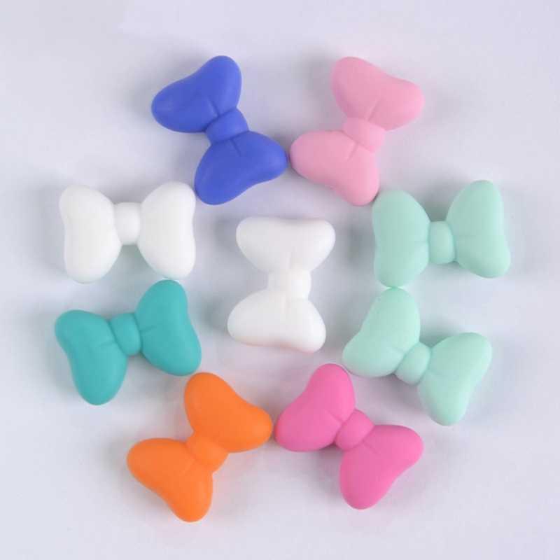 5 unids/lote de cuentas de silicona juguetes de dentición para bebé chupete Clips accesorios Bowtie Teether Bead grado alimenticio silicona libre de BPA