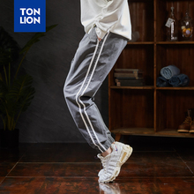 TONLION Side Stripe Decoration Cotton Pants Men Black Gray Casual Pant Long Full Length Elastic Waist Trousers Man 2020 Spring