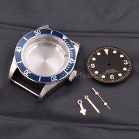 41mm relógio masculino peças azul beze assista caso dial mãos luminou à prova d3água 316l s aço ajuste eta 2836/2824 miyota8215 821a movimento