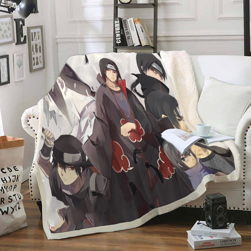 Anime Naruto Funny Character Blanket 3D Print Sherpa Blanket On Bed Home Textiles Dreamlike Style 22