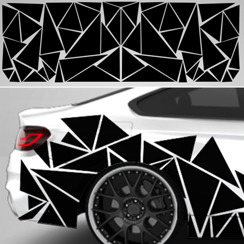 Matte Black Car SUV Truck Decoration Stickers Triangle Vinyl Decal Car Styling Accessories 200x60cm