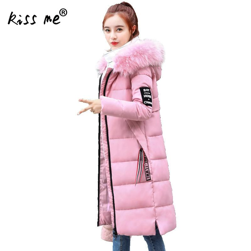 Slimming Solid Hooded Outdoor Down Coat Winter Windproof Cotton Clothes Thermal Warm Down Jacket Casual Mid-Long Coat Female