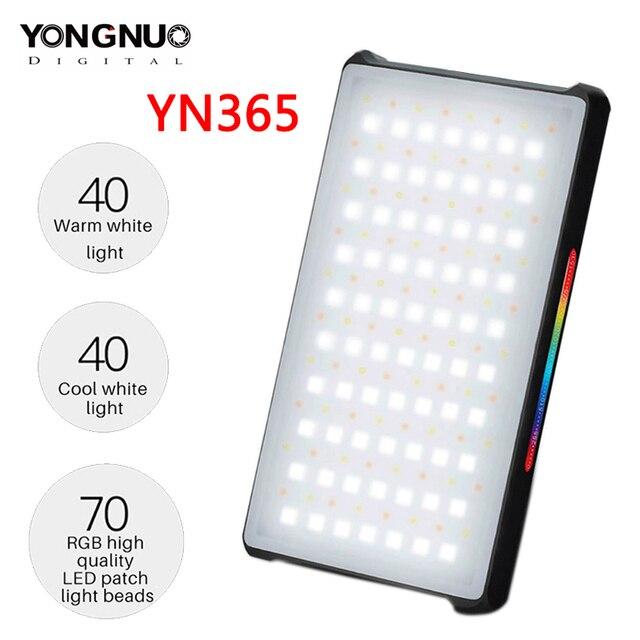 YONGNUO YN365 RGB LED 사진 스튜디오 조명 2500 k 8500 k 3300mAh 풀 컬러 충전식 배터리 램프 비디오 포켓 라이트