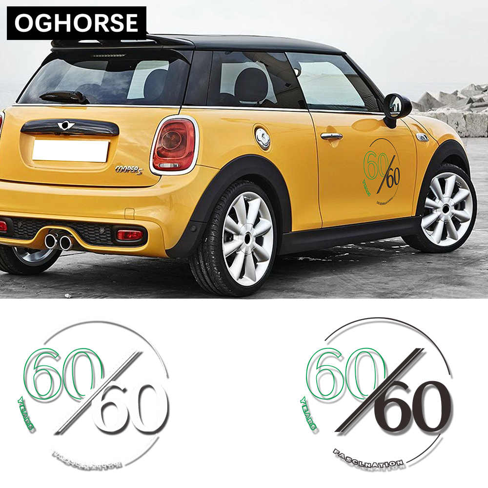 2 Pcs 60th anniversary Graphics Decal Door Side Sticker For MINI Cooper R50 R52 R53 R55 R56 R57 R58 R59 R60 R61F54 F55 F56 F60