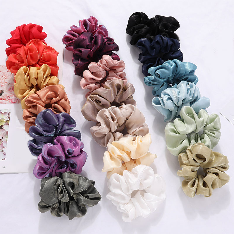 Women Satin Hair Scrunchies  Scrunchie Elastic Hair Bands Girls Headwear Bright Color Girl Hair Tie Accessories Ponytail Holder