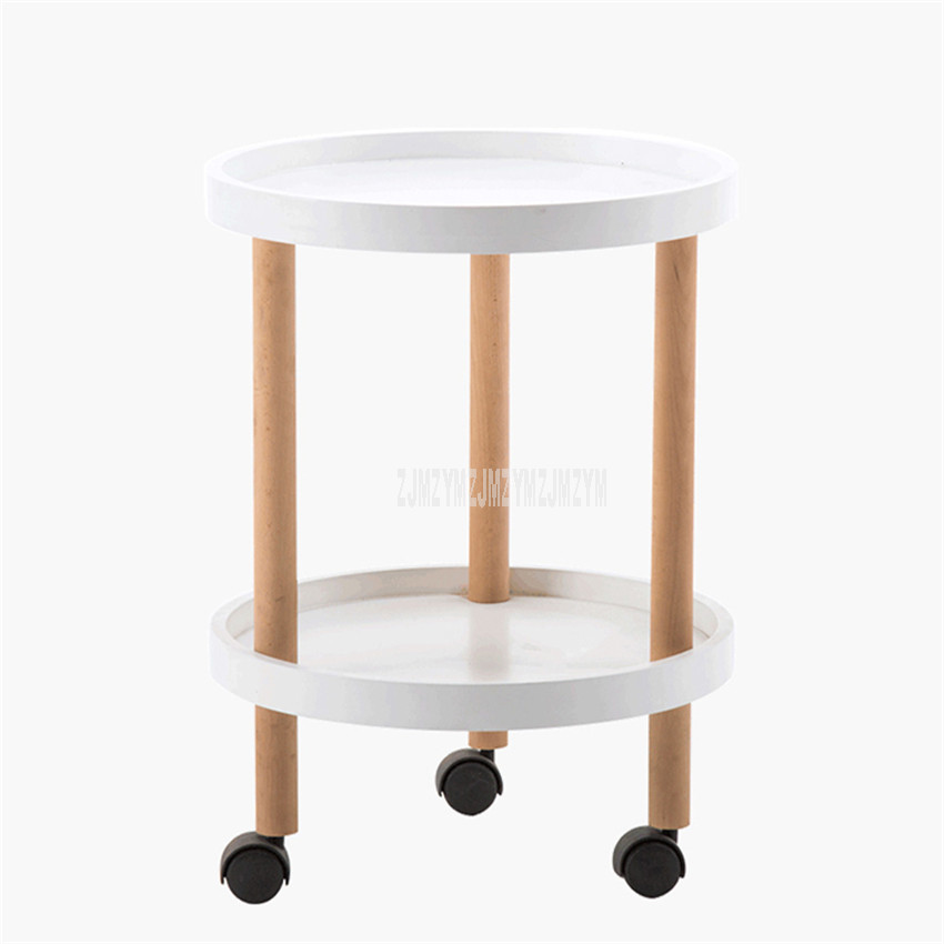 Double Layer Nordic Small Round Tea Table Simple Modern Wood Sofa Side Table Reception Coffee Table Movable With Storage Space