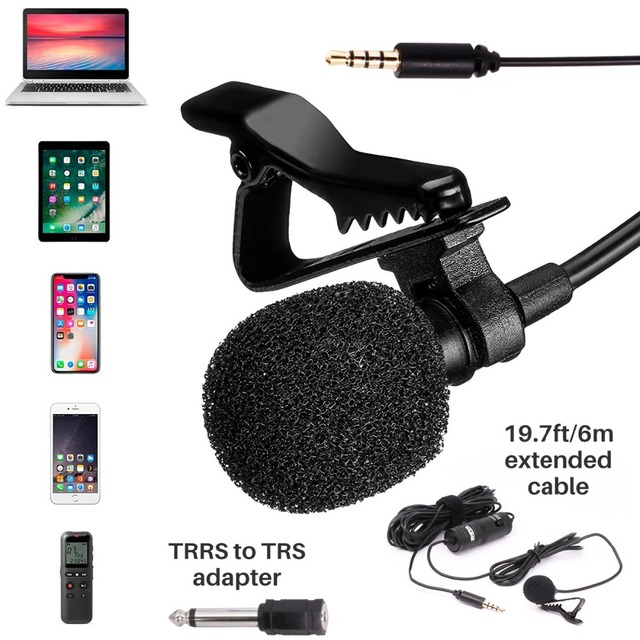 Condenser Microphone Lapel Microphone for recording Canon / iPhone DSLR cameras